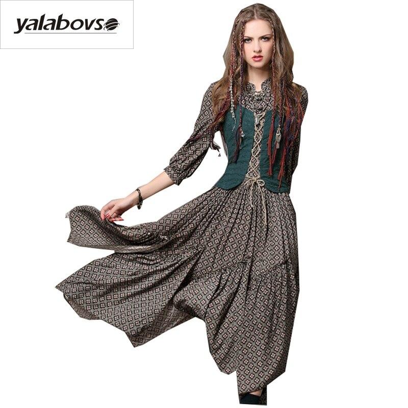 Yalabovso 2017 impression Vintage rétro robe Slim taille faux deux pièces robes avec broderie robe pour femme A50-A6526 z20