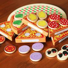 27Pcs Wooden Pizza Fruit Slices Cutting Tableware Kitchen Pretend Play Kids Toy Fruit Vegetable with Tableware цена