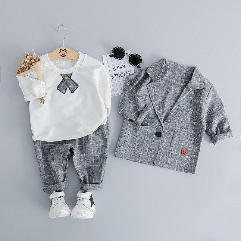 2019 Marque vêtements pour petit garçon Basant T-shirt + Plaid Blazer + costumes pour hommes 3 pièces Coton Garçons Vêtements Ensemble 0 -3 T tenues décontractées