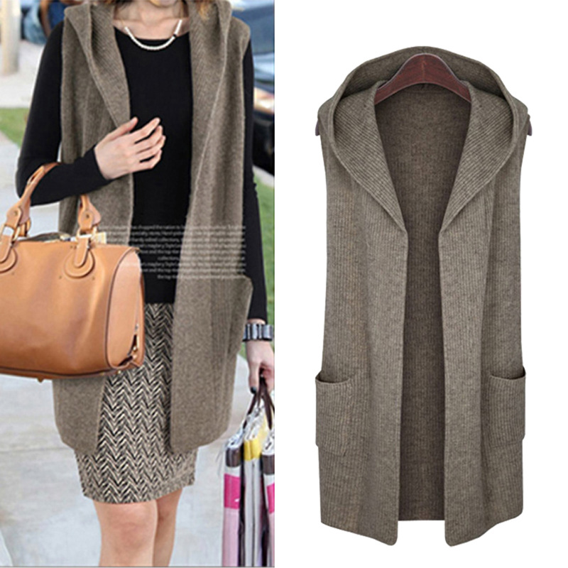 fa61e3ceab6 XL-5XL Plus Size Casual Women Sweaters Vests 2019 Autumn Winter Fashion  Thickening Hooded Cardigans