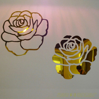 Rose Flower 3D Mirror Wall Stickers DIY Decoration Living Room Bedroom Wall Decoration Acrylic Mirrored Decorative
