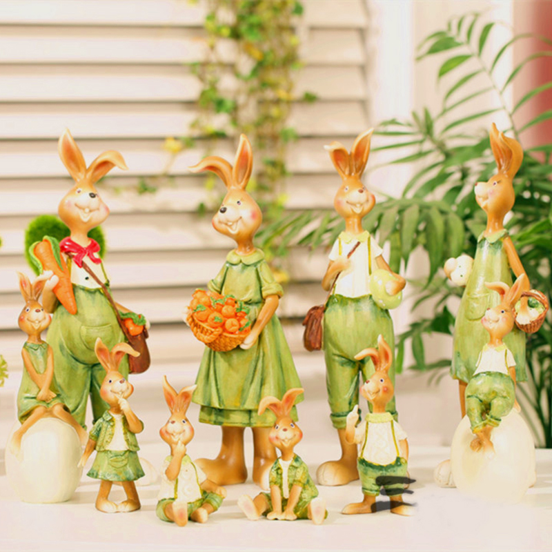 New Home Decor Rabbit Lovers Easter Rabbits Bunny Green Statues Garden Small Resin Craft Figurines Miniatures