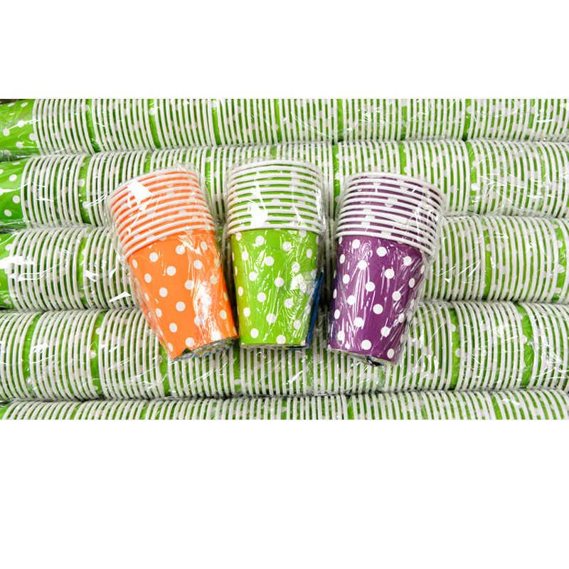 10ชิ้น/แพ็คหลายสีทารกฝักบัวสีแดงลายจุดวันเกิดพรรคทิ้งบนโต๊ะอาหารตกแต่งกระดาษเด็กโปรดปรานสีชมพูสีฟ้าถ้วย