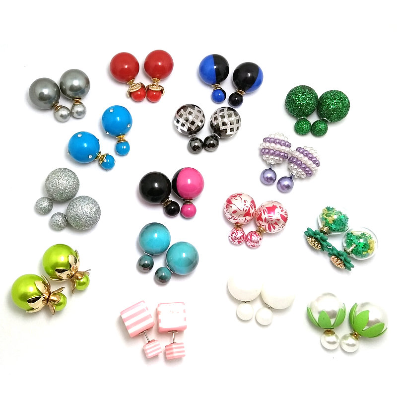 20 pairs lot Mix Color Random Fashionable Colorful 16mm Simulated Double Pearl Earring Double Sided Face