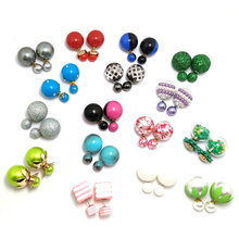 20 pairs/lot Mix Color Random Fashionable Colorful 16mm Simulated Double Pearl Earring Double Sided Face Wear Stud Women Earring
