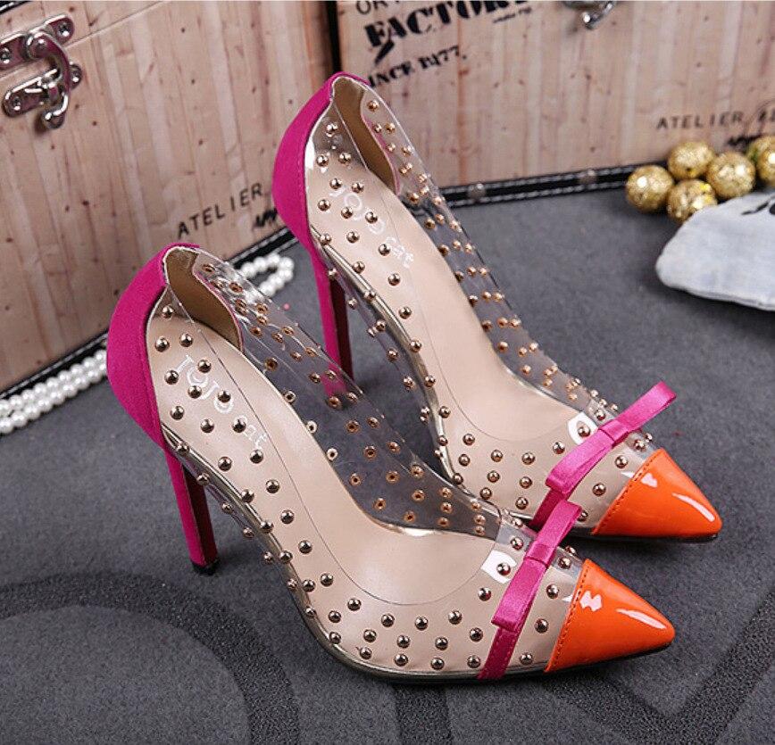 De Chaussures La Taille Pompes À Femmes Noir Mariage Mariée Soirée Plus Bout Sandales Rivets bleu orange Pointu Cristal Nouveau Talons Robe Sexy npz5fWUTTY