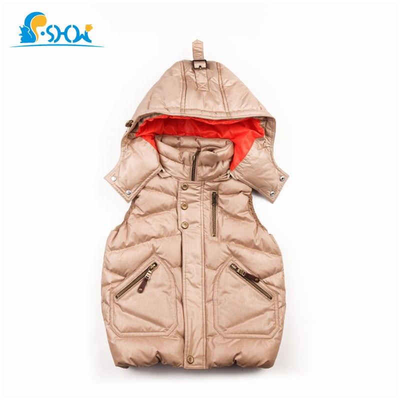 SP-SHOW hiver enfants 2018 unisexe hiver gilet léger vestes Style russe 4 couleur mode à capuche manteau vêtements d'extérieur et manteaux 49019