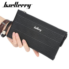 все цены на New Fashion Men Classic Wallet Long Clutch Handy Bag Male Business Leather Purse Large Capacity Mens Clutch Wallets Luxury Brand онлайн
