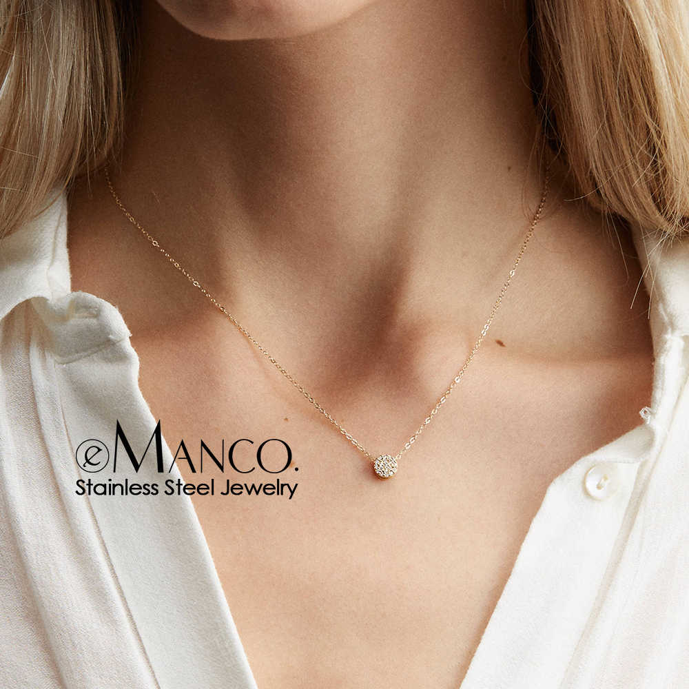 e-Manco Minimalist Stainless Steel Necklace dainty  Layered Necklace women Long Pendant Necklace Jewelry