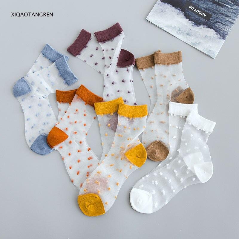 Frugal 1pc Ins Style Fashion Transparent Rainbow Short Socks Women Summer Meia Thin Socks Hipster Low Cute Socks Fmale Sox Bts Bt21 Shrink-Proof Socks