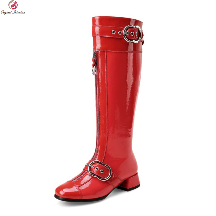 Original Intention Stylish Women Knee High Boots Real Leather Round Toe Square Heels Boots Black Red Shoes Woman US Size 4-10.5 original intention stylish women mid calf boots round toe square heels boots high quality black shoes woman plus us size 4 15