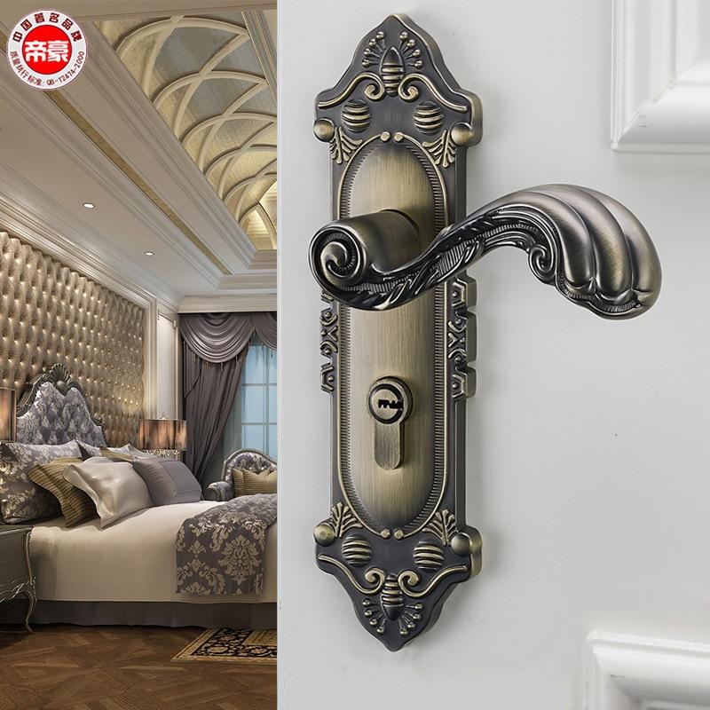Complete Door Lock For Indoor Bedroom European Door Lock Household Wooden Door Handle American Room Silence Door Lock Bronze