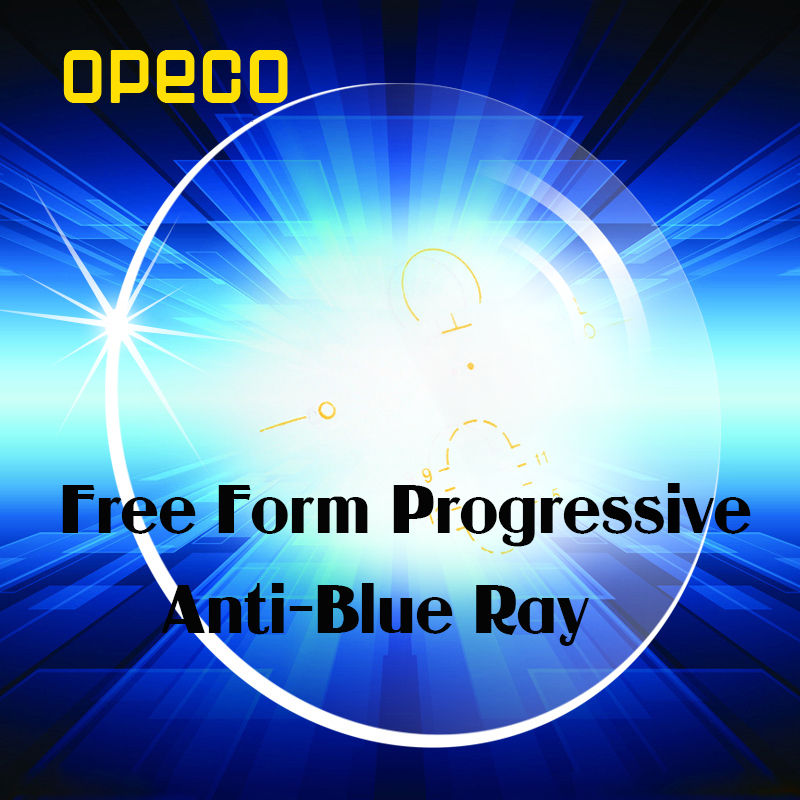 Opeco Free Form Digital Progressive Lenses Anti-blue ray light Anti-reflective and anti Scratch Optical Lenses