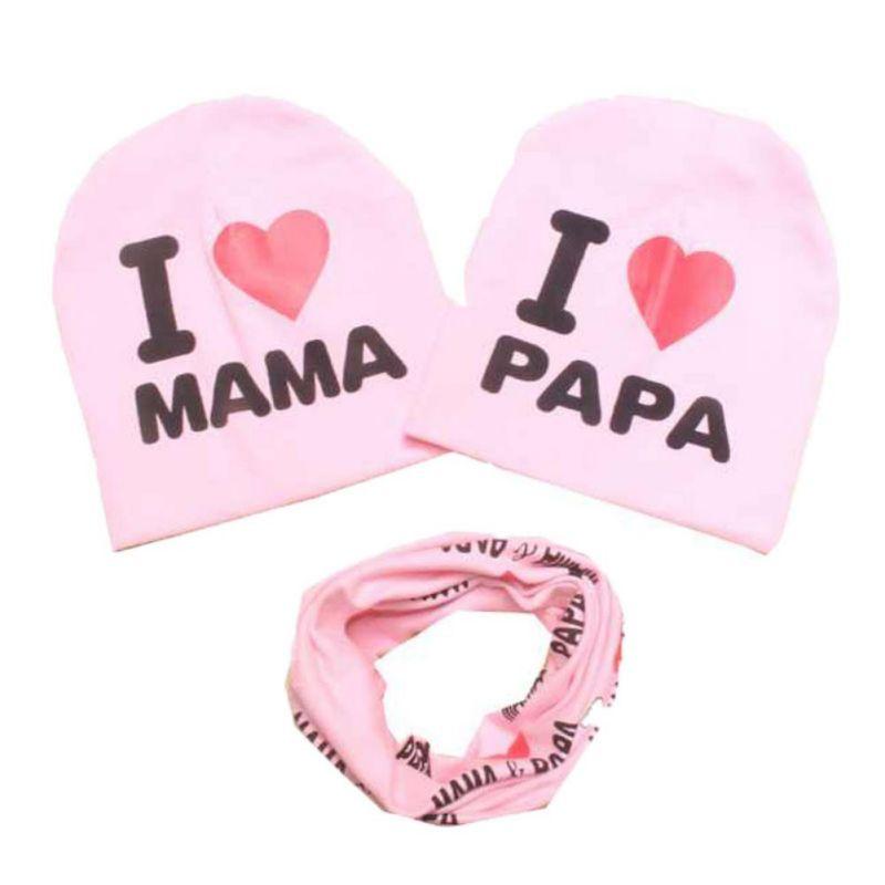 3 Pcs Children Girls Boys Baby dress High Quality Cotton clothing sport fashion winter warm baby set 2 hats+ Scarf