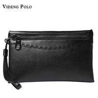 VIDENG POLO Leather Long Wallets Large Capacity Clutch Male Purse Zipper Clutch Men S Bag Holder