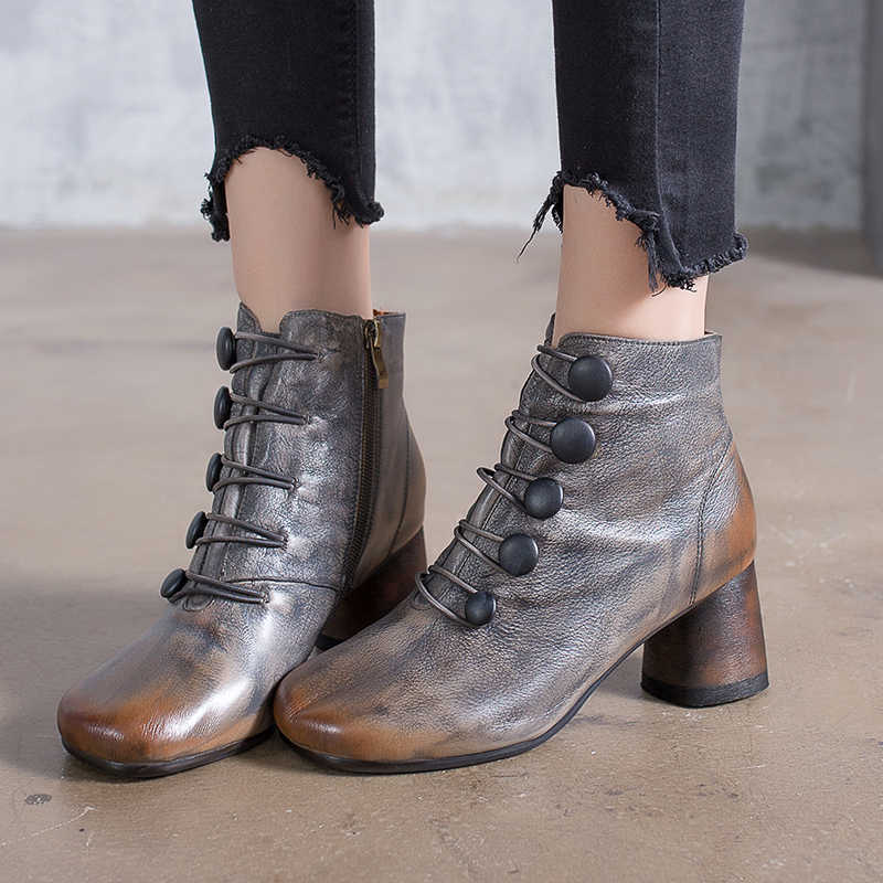 1f28dc59e562 2018 VALLU tacón redondo zapatos de mujer botas de tobillo de cuero ...
