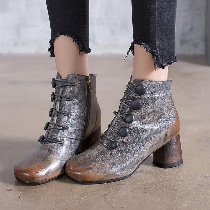 87fcf3f16d 2018 VALLU Rodada Salto Sapatas Das Mulheres Ankle Boots de Couro Genuíno  Handmade Do Vintage Zipper Calçado de Senhora Botas de Salto Alto em Botas  ...