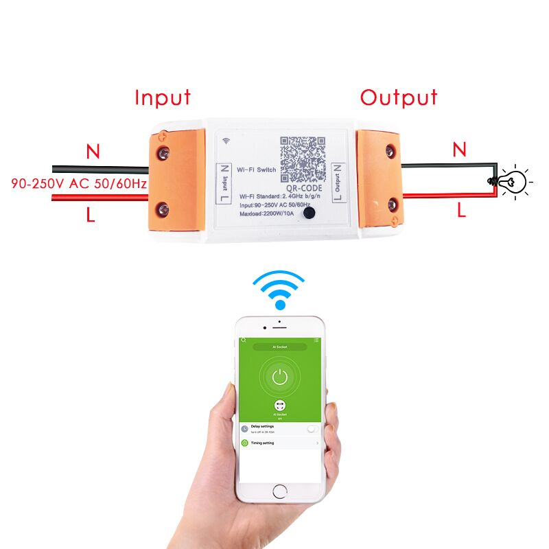 WiFi Smart Switch Wireless Remote Control 110V 220V Light Tis