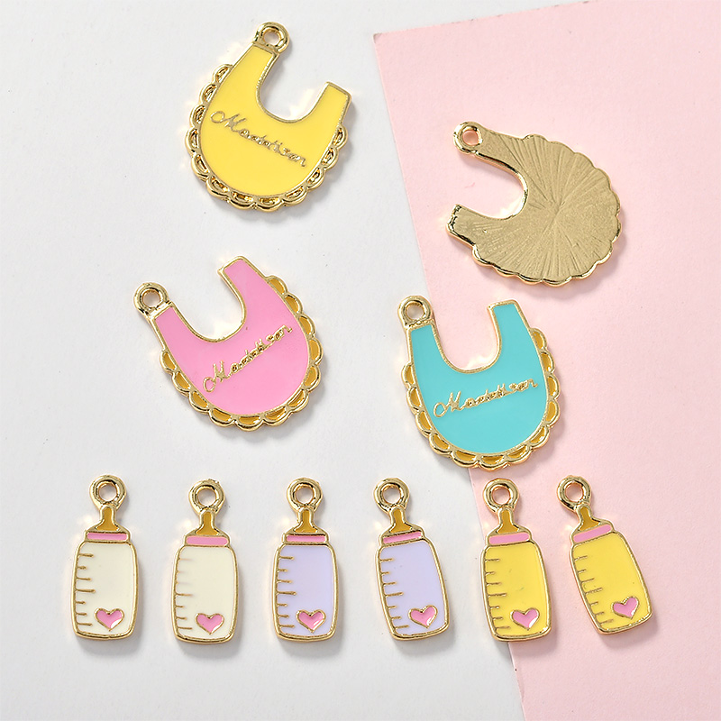 So Cute!10pcs/lot Baby Apron Baby Bottle Enamel Charms Metal Pendants Gold Base  Fashion Jewelry Accessories For DIY Handmade