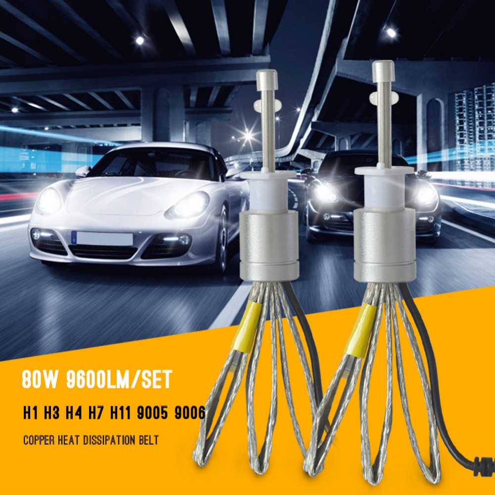 9600lm Led H1 Headlight 6000K White Super Bright Car LED Headlight Auto Front Headlamp Bulb Conversion Kit XHP-50 Bulb  yumseen super bright 9600lm h1 xenon white 6000k car led headlight conversion kit lamp cree xhp 50 4800lm bulb 1 years warranty