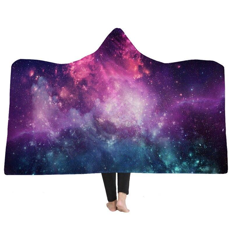 Impression 3D ciel étoilé univers à capuche couverture bohème Mandala mode adulte hiver chaud Sherpa polaire portable canapé jeter couverture