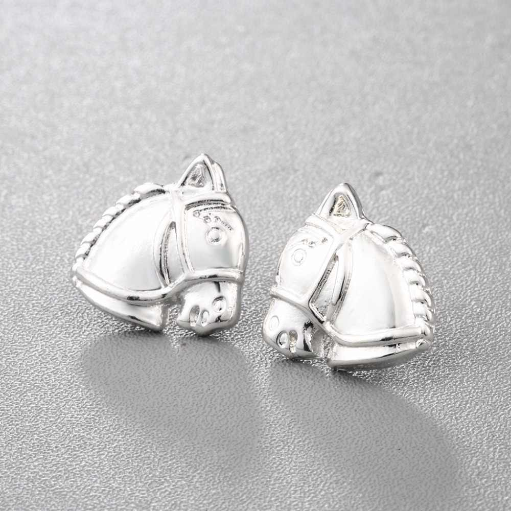 Cxwind Cute Horse Head Stud Earrings Animal Horse Shape Punk Style Earring costume Jewelry Girl Gift Bijoux Femme