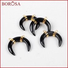 BOROSA ขาย 5/10 pcs Gold สี Drusy Tribal OX Horn สีดำ Agates Druzy Connector Double Charms สำหรับ(China)