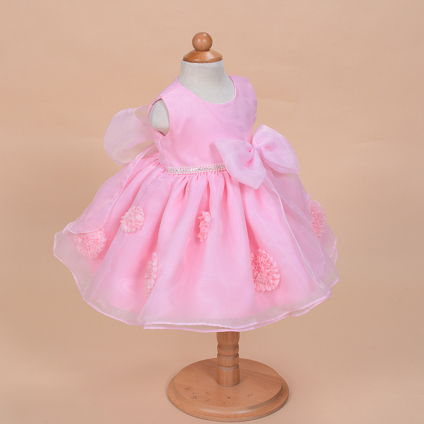 71b56a354 2017 Mid calf Solid Time limited Bow Baby Girl Dress Christening ...
