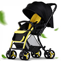Folding Baby Carriage Four Wheels Baby Trolley Can Sit To Lie Push To Reverse Luxury Baby Stroller High Landscape Sit 6 Colors