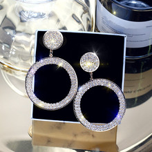 FYUAN Fashion Shining Circle Drop Earrings Precision Inlay Gold Silver Color Rhinestone Earrings for Women Wedding Party Jewelry