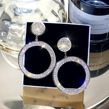 FYUAN Fashion Shining Circle Drop Earrings Precision Inlay Gold Silver Color Rhinestone Earrings for Women Wedding.jpg 350x350 - Shining Circle Drop Wedding Party Earrings