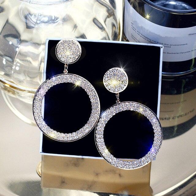 FYUAN модные блестящие круг висячие серьги точность инкрустация золото серебряного цвета со стразами серьги для женщин Свадебная вечеринка ювелирные изделия