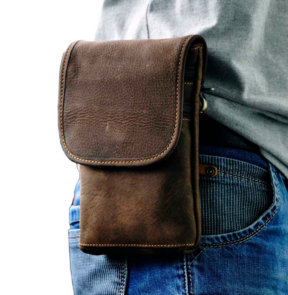 Leather Men Casual Multifunction Fashion Small Crossbody Messenger Shoulder Bag Designer Waist Belt Pack Phone Pouch 611-10A