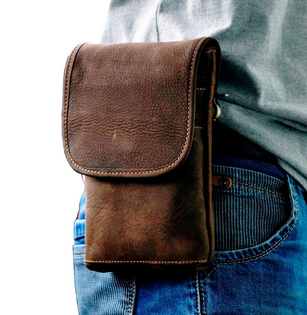 Leather Men Casual Multifunction Fashion Small Crossbody Messenger Shoulder Bag Designer Waist Belt Pack Phone Pouch 611-10A