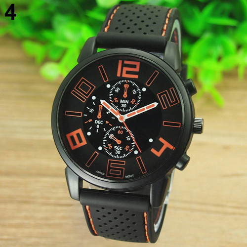 17 Men's Casual Sports Stainless Steel Silicone Band Quartz Analog Wrist Watch Fashion Style Water Proof 6