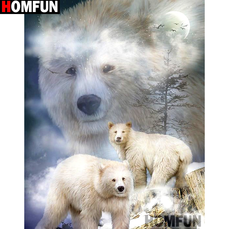 HOMFUN Full Square Round Drill 5D DIY Diamond Painting quot Animal bear quot Embroidery Cross Stitch 5D Home Decor Gift A14380 in Diamond Painting Cross Stitch from Home amp Garden