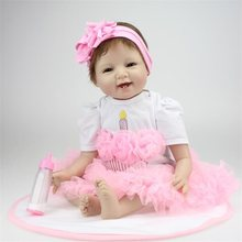 55cm silicone reborn dolls fashion princess dress dolls and doll clothes playmate dolls for kids Chrismas Birthday Gift(China)