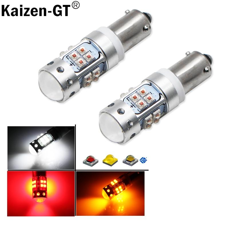 (2) 6000K Xenon White 16-SMD H21W BAY9s 120 degress LED Replacement Bulbs For car Backup Reversing or Parking Lights,12V