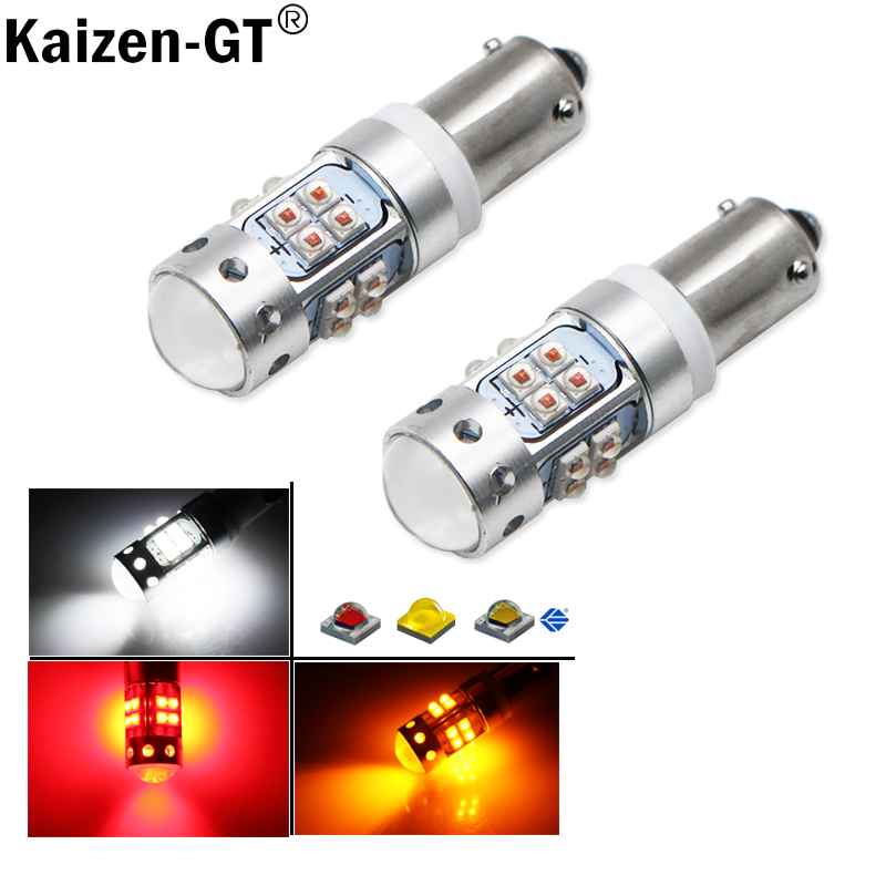 (2) 6000K Xenon White 16-SMD H21W BAY9s 120 degress LED Replacement Bulbs For car Backup Reversing or Parking Lights,12V