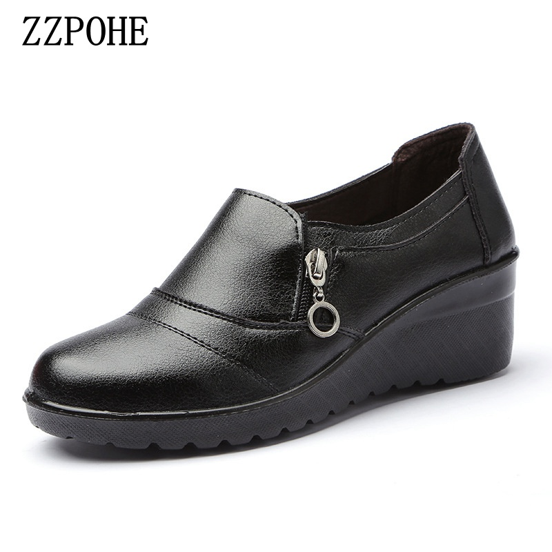 ZZPOHE 2018 New Fashion High Heels Women Casual Single Shoes Woman Shoes Lady Wedges Comfortable PU Leather Pumps 2018 new spring women single shoes women pumps women high heels classics pu basic casual shoes