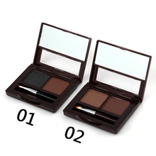 High quality Eyebrow Powder Palette Cosmetic two-color eyebrow porwder Belt Brush Gifts with Two Eyeliner Pens
