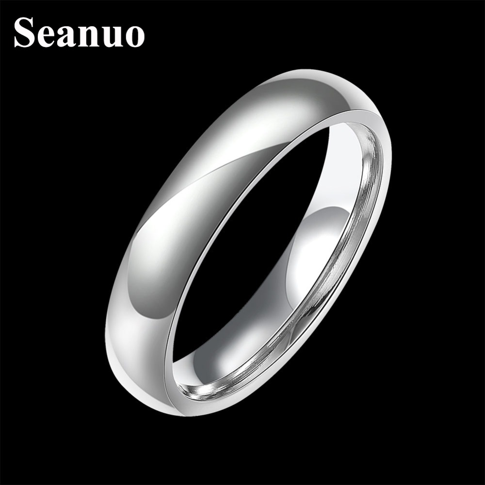 Seanuo Hottest 4mm white gold color highly polished men finger ring fashion silver plated 316L stainless steel wedding ring 6-9