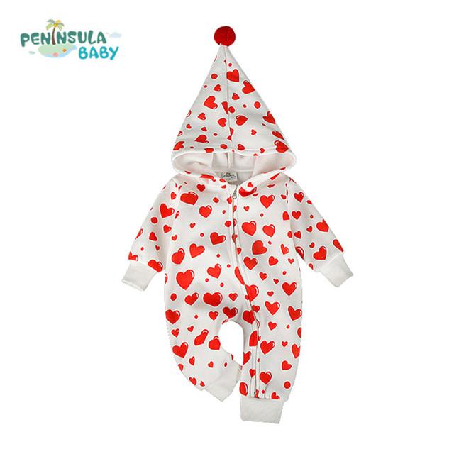 2016 Otoño 100% Algodón Ropa de Bebé Muchacha de Los Muchachos Mameluco Del Bebé Ropa de Invierno Con Capucha Mono Impresión Del Corazón Ropa de Bebé