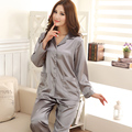 Women's Silk Pajamas Spring And Autumn Classic Satin Gray Pijama Mujer Lounge Middle-aged Pajama Sets Pyjamas Women