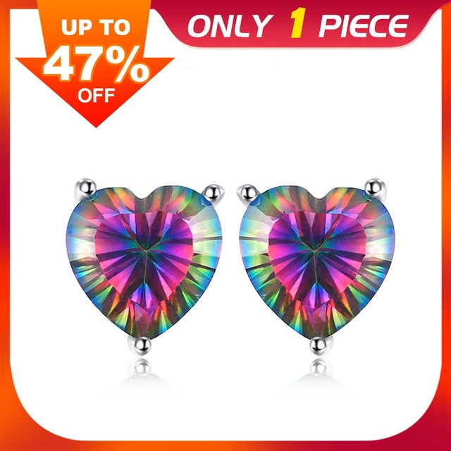 JewelryPalace Heart 4.5ct Genuine Rainbow Fire Mystic Topaz Real 925 Sterling Si