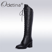 Odetina 2017 New Genuine Leather Women Lace Up Knee High Equestrian Riding Boots Cross Tied Pointed Toe Chunky Heel Winter Shoes
