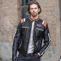 2017 Homens Jaqueta De Couro Da Motocicleta Do Vintage Preto Crânio Bordados calças de Couro Slim Fit Homens Inverno Casaco Curto Motociclista FRETE GRÁTIS