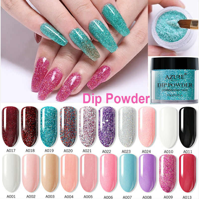 Azure Beauty Pink Color Dipping Powder Without Led Lamp Dip Powder Nail Art Gradient Color Dipping Glitter Powder Base Top Gel
