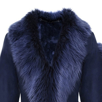 AiiaBestProducts - Women Winter Automn Coat Covered Button Flocking Blue 1
