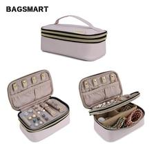 BAGSMART voyage bijoux sac femmes Double couche bijoux rouleaux porte-collier boucle d'oreille anneau pochette de rangement sac organisateur pour les femmes